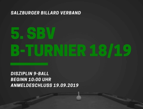 5. SBV B-Turnier am 21.09.2019 in Hallein
